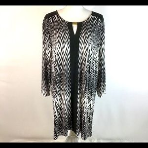 ANNE KLEIN Tunic Top Black and White Pullover XL